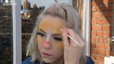 Various stages of a chick makeup tutorial