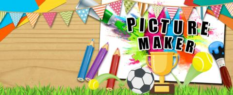 CBBC Picture Maker with bunting, tennis balls a trophy and a football.
