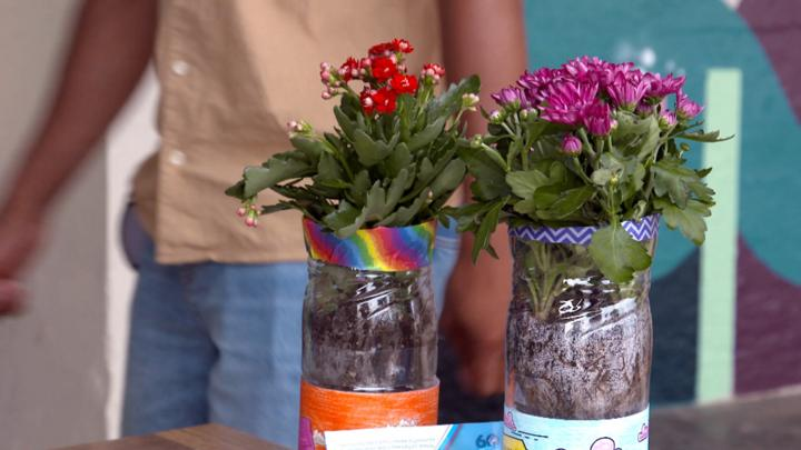 Make a flower pot from a plastic bottle - CBBC - BBC