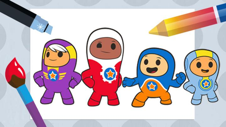 Make a picture with the go jetters cbeebies bbc for Kazoops coloring pages