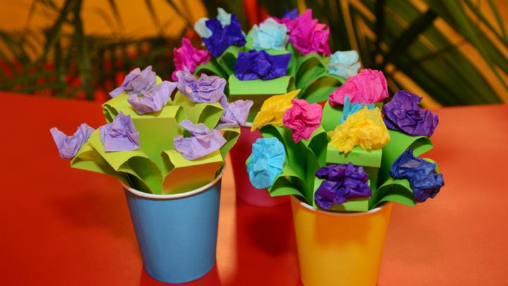 Pot of paper flowers cbeebies bbc mightylinksfo