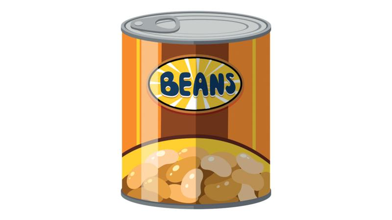 A cartoon tin of beans