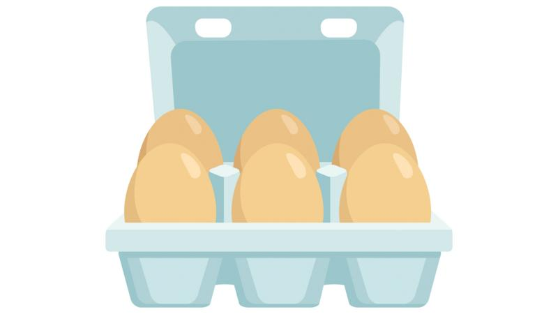 A cartoon carton of eggs