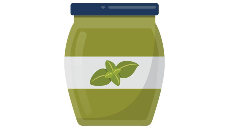 A cartoon jar of pesto