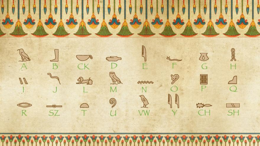 Spell your name with hieroglyphics cbbc bbc a grid showing the egyptian alphabet from vulture a foot b thecheapjerseys Gallery