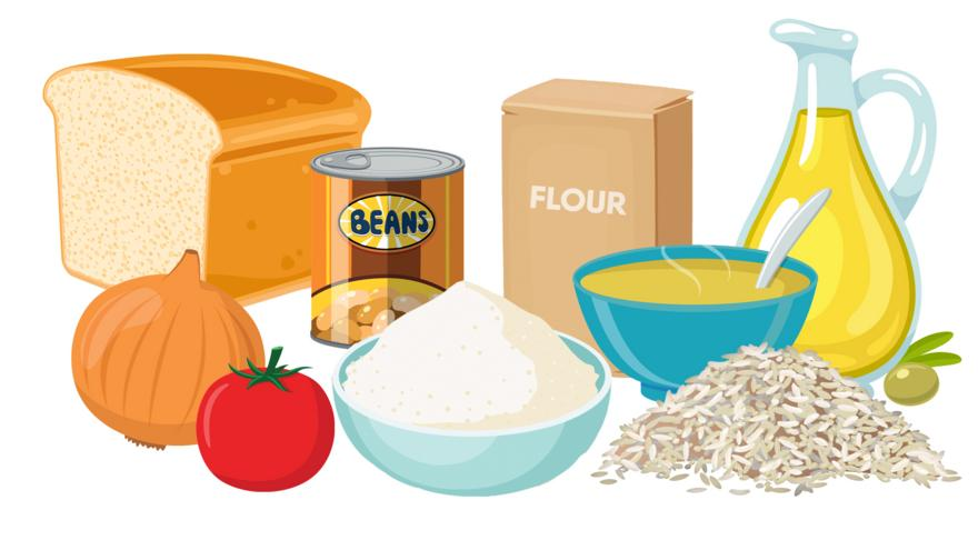 cartoon bread, onion, tomato, flour, tin of beans, olive oil, pile of rice, bowl of stock.