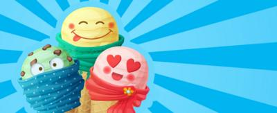 Illustration of three ice creams with emoji faces