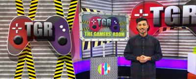 CBBC HQ The Gamer's Room set with Karim and the Gamers' Room Logo