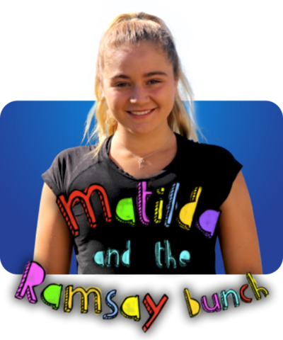 A girl with blonde hair smiles behind text that reads 'Matilda and the Ramsay Bunch'
