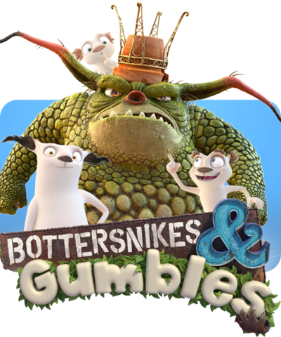 A Bottersnike, two Gumbles and the Bottersnikes & Gumbles logo.