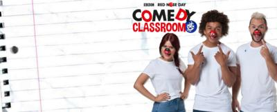Lindsey, Radzi and Barney wearing red noses and the Comedy Classroom logo