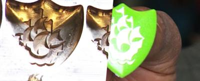 Green badge mould and finished Green badge