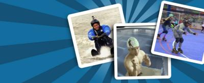 Three pictures of Radzi on a blue background: one rollerblading, one about to dive from a high board and one waterskiing.