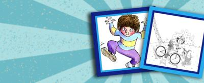 Horrid Henry looking mischievous to the left of image; Flying Fergus racing on his bike to the right of image.