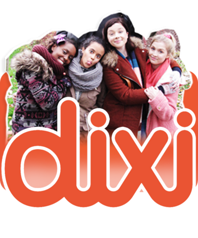 Four girls and the Dixi logo.