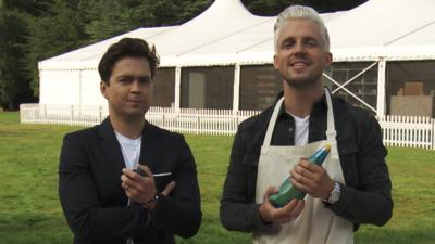 Junior Bake Off - Oli White and Marcus Butler take on the Piping Challenge