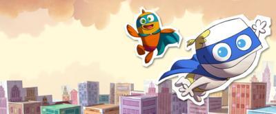Little Roy flying through the air.