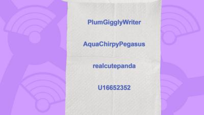 A picture of toilet roll with the names of people who got the question right, PlumGigglyWriter, AquaChirpyPegasus, realcutepanda, U16652352.