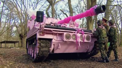 Marrying Mum and Dad  - The Bride arrives in a tank!