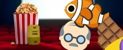A fish emoji, a chocolate bar emoji and an old man emoji on a background of a cinema.