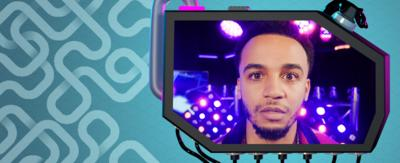 Coloured backgrounds with Aston Merrygold's face in a screen.