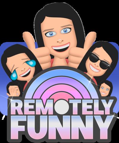 'Samojis' (emojis that look like Saara) behind the Remotely funny logo.