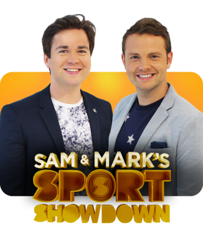 Sam and Mark with the Sport Showdown logo