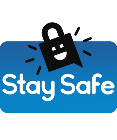 Stay Safe logo and a padlock with a smiley face.