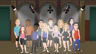 The Next Step dancers in cartoon form underneath spotlights.