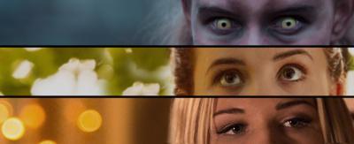Three women's eyes framed in thirds.