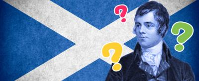 Image of Robert Burns in front of a Scottish flag and question marks all around him