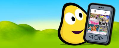 A CBeebies bug and smart phone featuring the iplayer kids app.