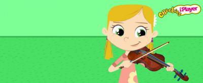Animated girl playing a violin.