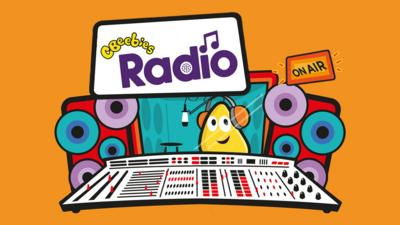The CBeebies Radio logo with a CBeebies bug in a radio studio.