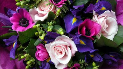 A bunch of pink, blue and violet flowers.