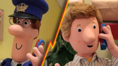 Pat and Ben from Postman Pat: Special Delivery Service on the phone to each other.