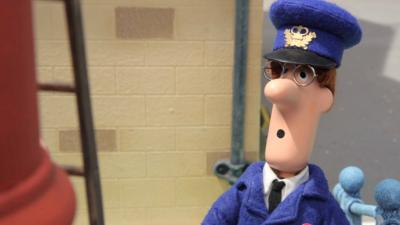 Pat from Postman Pat: Special Delivery Service looking surprised in front of a ladder.