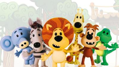 Huffty, Zebby, Topsy, Ooo Ooo, Crocky and Raa Raa the Noisy Lion waving.