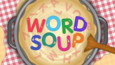 Letters floating in a bowl to spell 'Word Soup' and a wooden spoon.