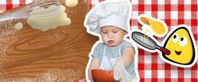 A child helping to make a pancake.