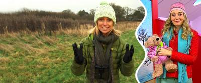 Cerrie and Winterwatch's Michaela in their hats.