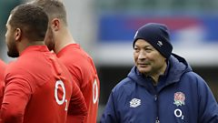 Eddie Jones watches over England training