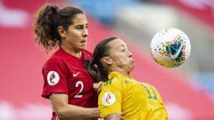 Norway v Wales match action; Ingrid Moe Wold of Norway, Natasha Harding of Wales
