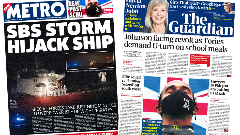 Metro and Guardian front pages 26 October