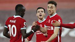 Diogo Jota celebrates scoring for Liverpool against West Ham