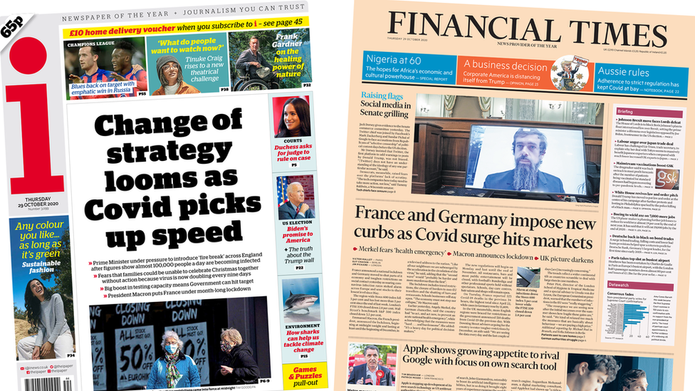 i and Financial Times front pages