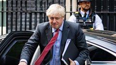 Boris Johnson arriving back at Downing Street