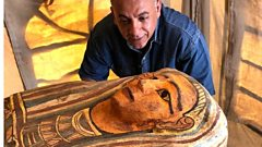 A wooden sarcophagus discovered down an ancient well in Saqqara, Egypt