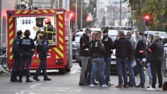 Security and emergency personnel are on October 31, 2020 in Lyon at the scene where an attacker armed with a sawn-off shotgun wounded an Orthodox priest