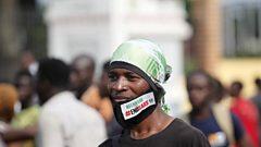 A protester in Lagos, Nigeria. Photo: 20 October 2020